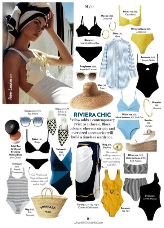 RED MAGAZINE FEATURES THE SHELL SWIMSUIT IN THEIR RIVIERA EDIT