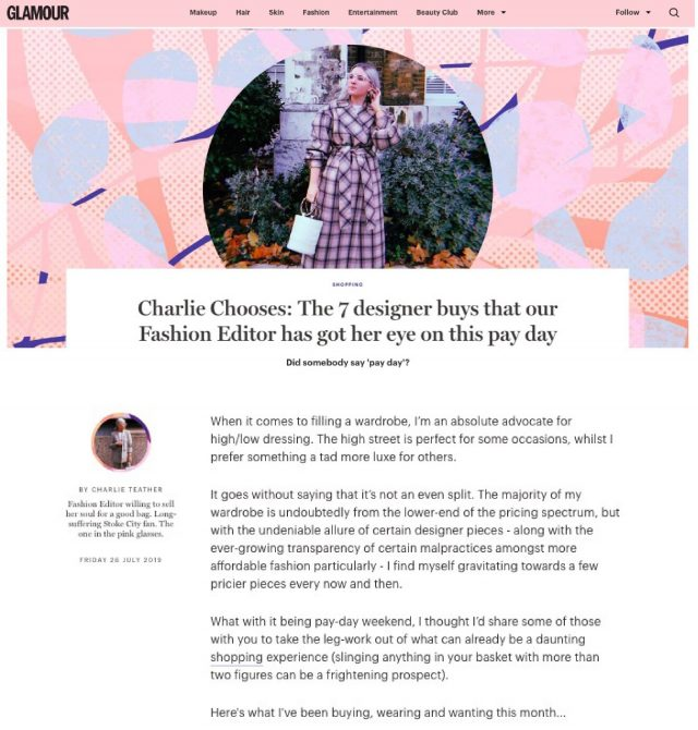 CHARLIE TEATHER SELECTS THE EMELY TOP AND CURACAO TROUSERS AMONG HER TOP 7 DESIGNER BUYS FOR GLAMOUR