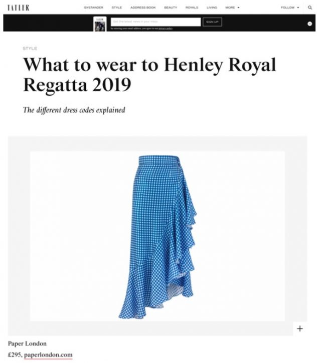THE LAGOS SKIRT FEATURES IN TATLER'S HENLEY STYLE GUIDE