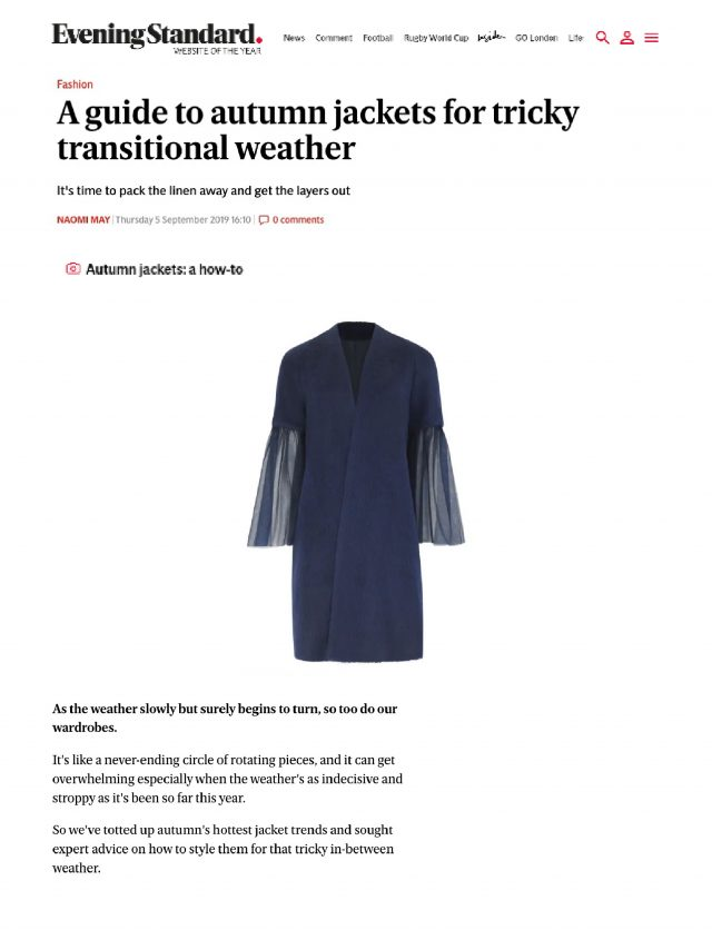 THE PFEIFFER COAT FEATURES IN THE EVENING STANDARD'S AUTUMN EDIT