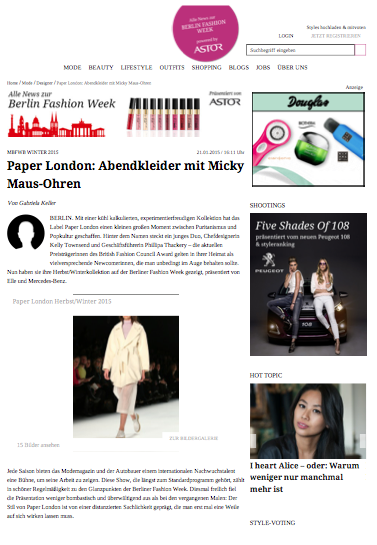 Style Ranking reviews PAPER London's AW15 Catwalk Show at Berlin Fashion Week