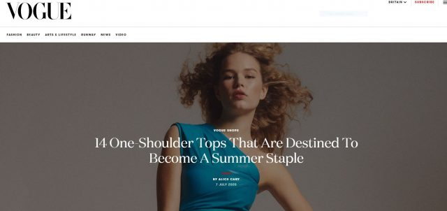 PAPER LONDON featured in British Vogue: 14 One-Shoulder Tops That Are Destined To Become A Summer Staple