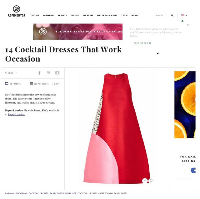 PAPER London's Phoenix Dress is featured in Refinery 19's Cocktail Dresses that work..