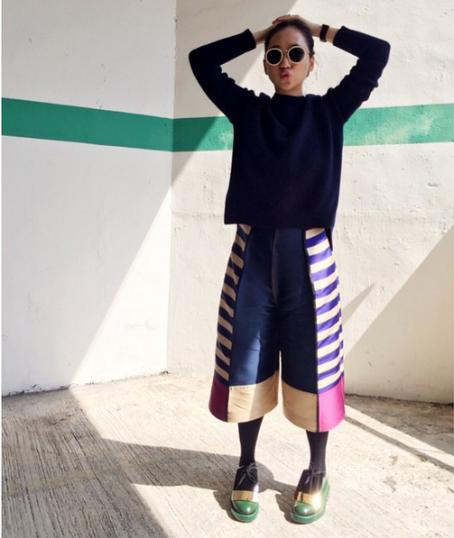 Genevieve Chew of Edit 67 rocks AW14's Capella Culottes in Hong Kong..
