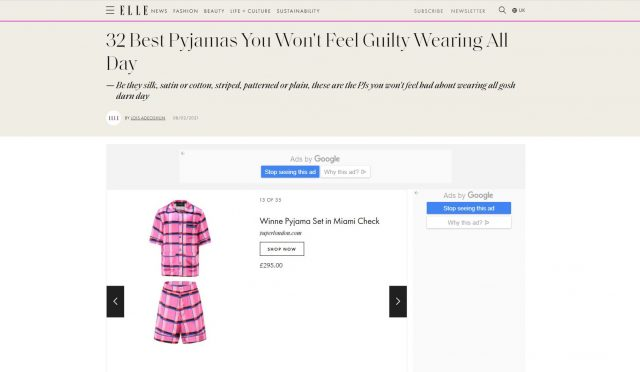 PAPER featured in ELLE : ' 32 Best Pyjamas You Won't Feel Guilty Wearing All Day ' By Lois Adeoshun