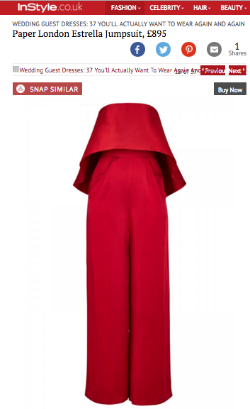 PAPER London's Estrella Jumpsuit is featured in InStyle