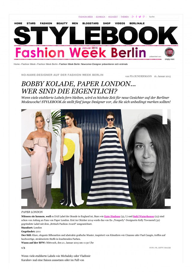 PAPER London is featured in Stylebook