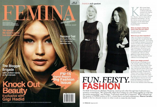 PAPER London is featured in FEMINA Magazine