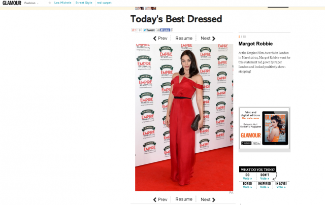 Glamour votes Margot Robbie best dress of the week in PAPER London's SS14 Jumpsuit