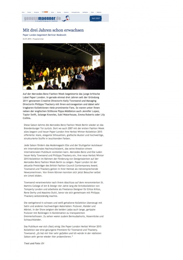 PAPER London's AW15 Catwalk Show is reviewed in Genussmaenner.de