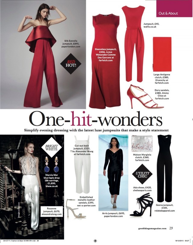 PAPER London's  AW15 Akris Jumpsuit and Resort's Estrella Jumpsuit are featured in GOOD THINGS