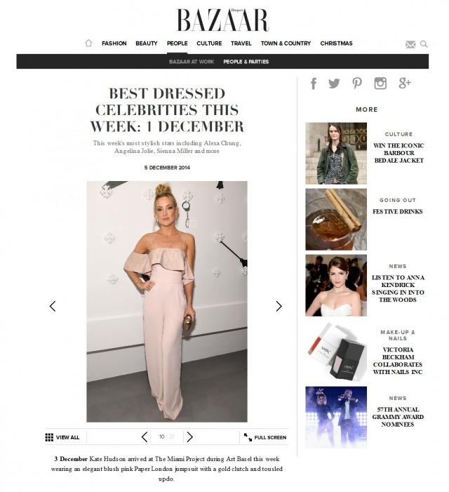Harpers Bazaar names Kate Hudson Best Dressed of the Week wearing SS15's Oriata Jumpsuit