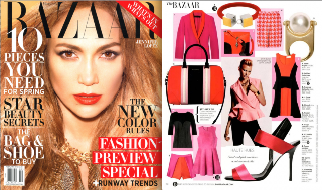 SS13 pink Runner Shorts feature in Harpers Bazaar USA