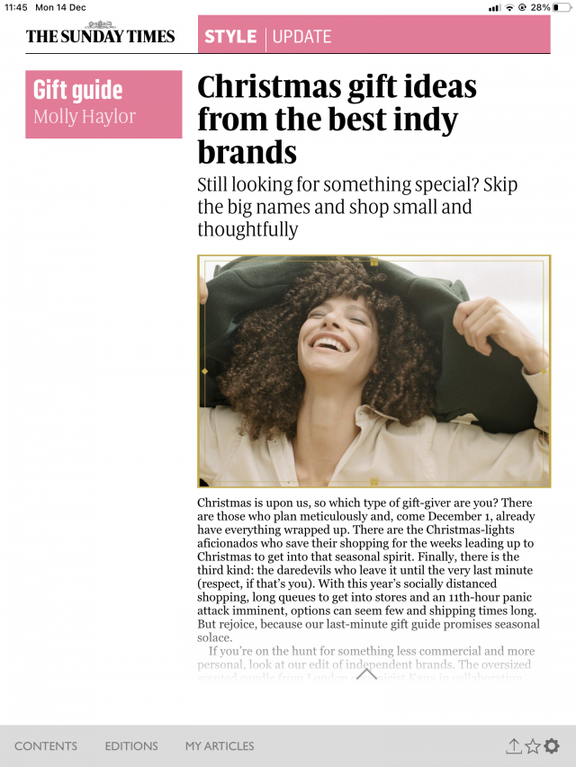 PAPER featured in The Sunday Times – Christmas gift ideas from the best indy brands