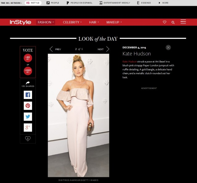Instyle names Kate Hudson Best Dressed in SS15's Oriata Jumpsuit