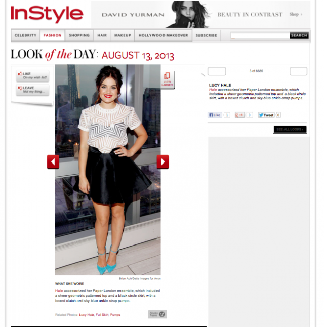 InStyle.com features Lucy Hale in PAPER London