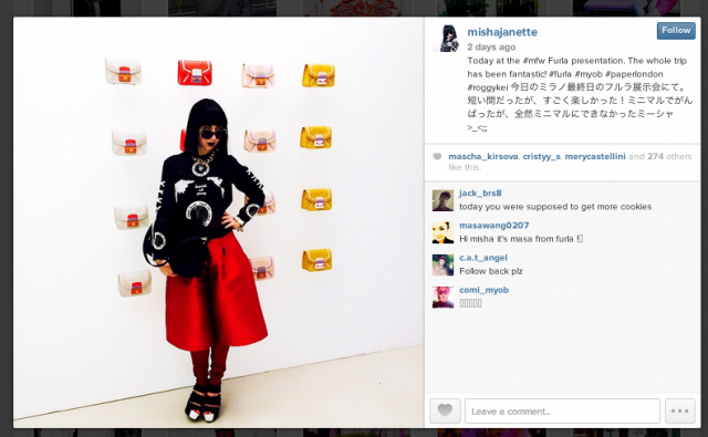 Tokyo Fashion Diaries Blogger Misha Janette wears PAPER's Adamello Culottes to the MFW Furla Presentation