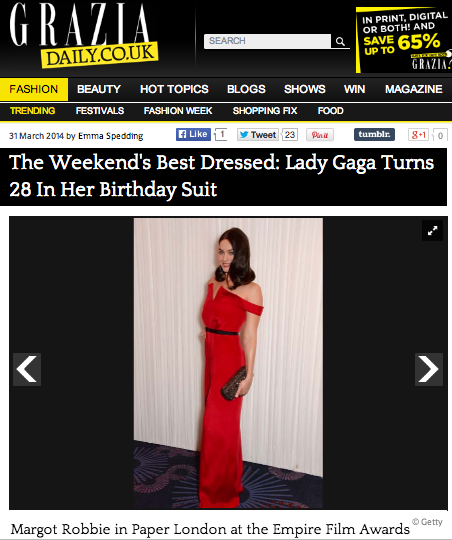 Grazia names Margot Robbie best dressed of the weekend in SS14's Sun Jumpsuit