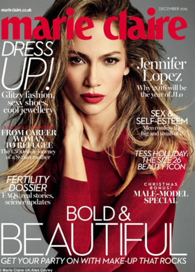 JLO is featured in December's issue of Marie Claire in PAPER London's Desert Body
