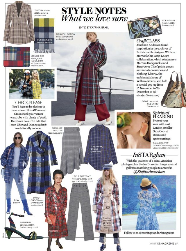 AW17 Rainbow Coat is featured on 'Style Notes, What We Love Now' style page in the ES Magazine