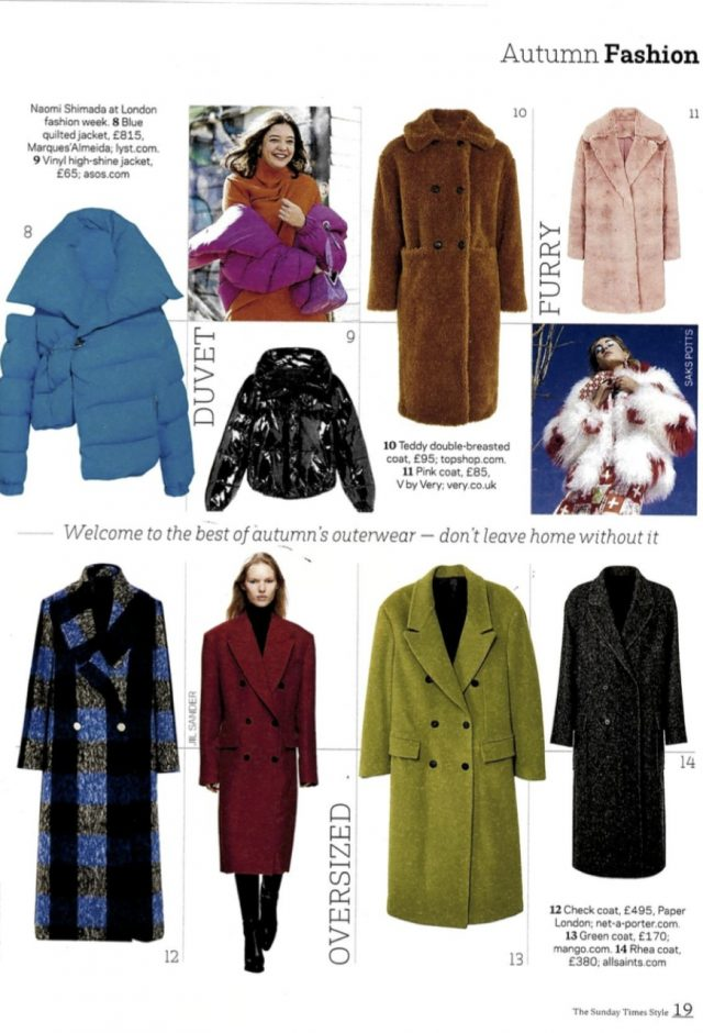 Sunday Times Style featured AW17 Rainbow Coat as one of the best autumn's outerwear