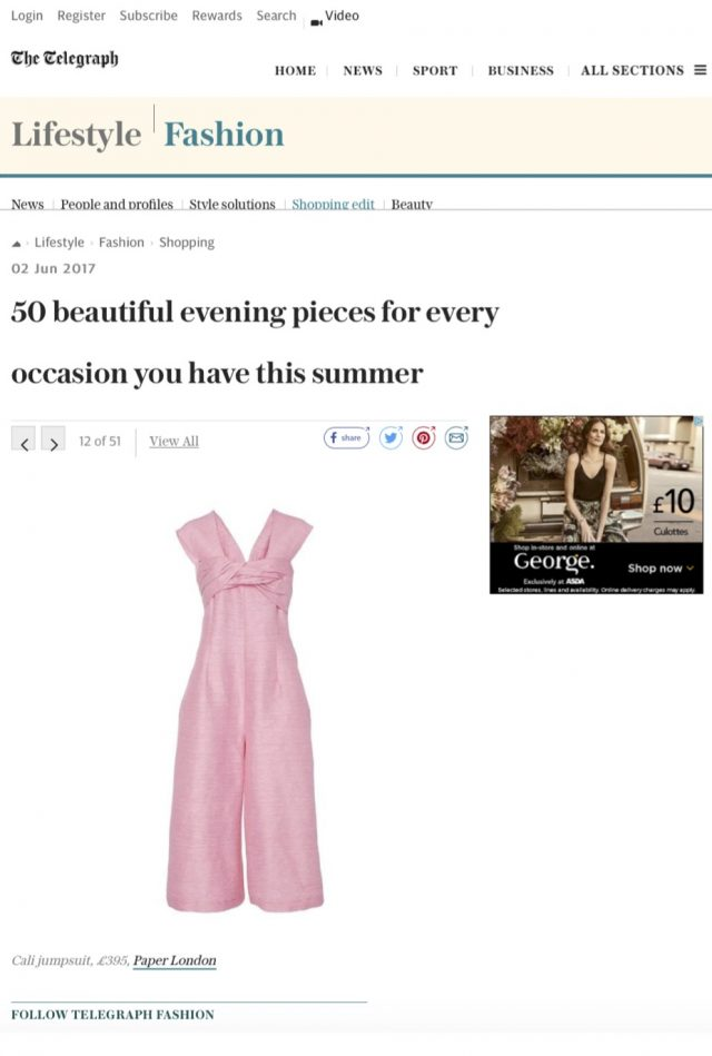 SS17 Cali Jumpsuit is one of the '50 beautiful evening pieces for every occasion you have in Summer' shown on Telegraph Online