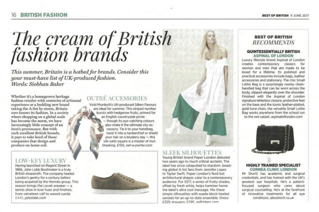 PAPER LONDON is being featured on the 'Must Have List of UK-produced Fashion'