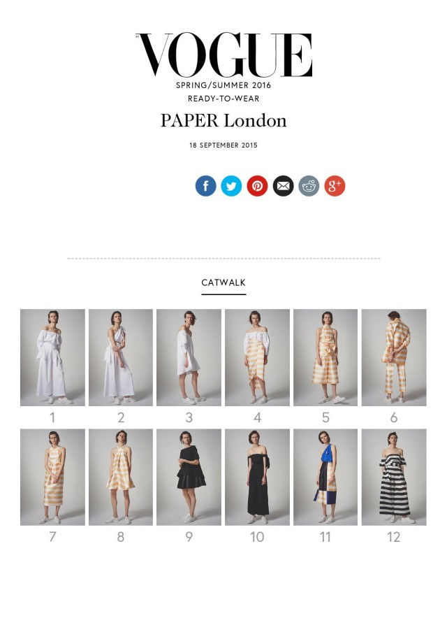 PAPER LONDON SS16's collection is featured on VOGUE.COM