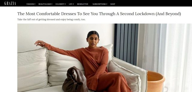 PAPER featured in GRAZIA The Most Comfortable Dresses To See You Through A Second Lockdown (And Beyond)