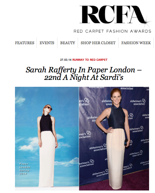 Red Carpet Fashion Awards feature Actress Sarah Rafferty in SS14's Aurore Dress