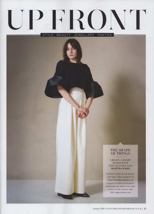 """The Shape Of Things"" PAPER London's AW16 1983 Jumpsuit is featured in October's Country & Townhouse Magazine"
