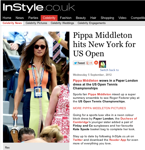 Instyle.co.uk features Pippa Middleton wearing the Rayleigh Dress