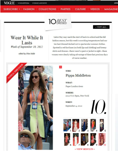 PAPER and Pippa in '10 best dressed' in Vogue.com