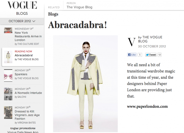 PAPER London SS13 featured in Vogue.com blog