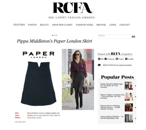 Red Carpet Awards feature Pippa Middleton wearing the V Skirt