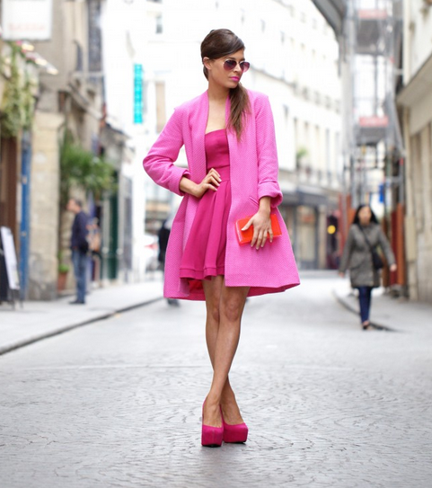 Blogger Audrey Rogers of FRASSY wears our Sandman Coat in pink