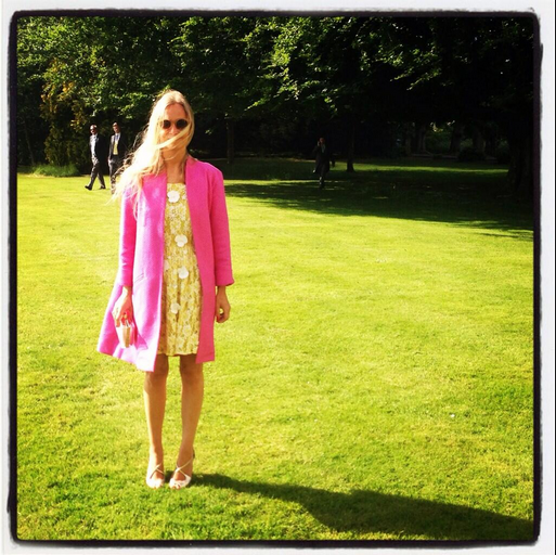 Stylist Martha Ward wears the pink Sandman Coat