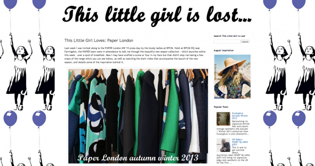 AW13 review on This Little Girl is Lost Blog