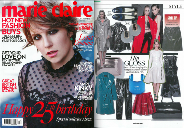 Patent Leather Trench Coat featured in Marie Claire