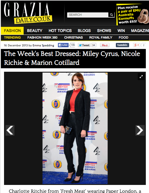 PAPER London and Charlotte Ritchie feature on GRAZIA's best dressed