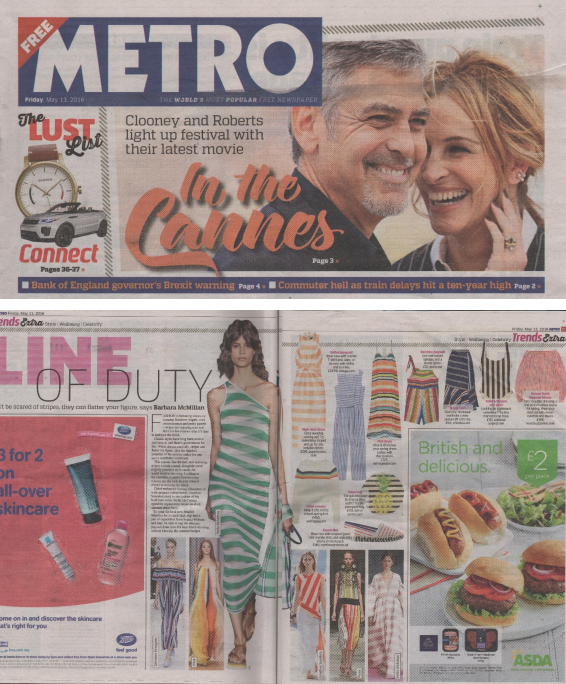 PAPER London's SS16 SIROCCO DRESS is featured in The METRO