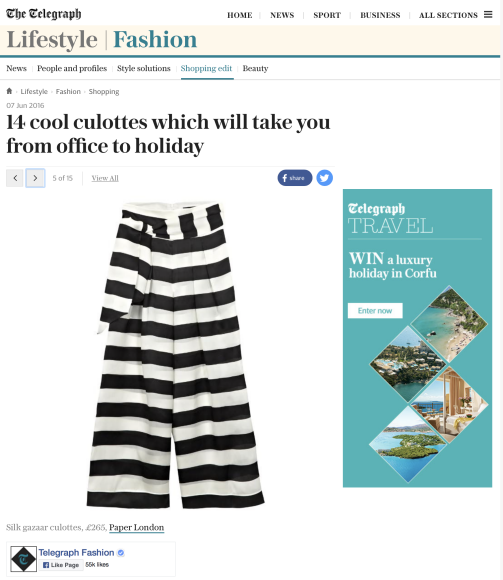 PAPER London's Electric Trousers are featured on the Telegraph online
