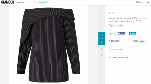 """Pay Day Treats"" PAPER London AW14 Epoch Top featured on Glamour online"