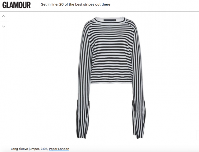 """20 Of The Best Stripes Out There"" Paper London's R17 Gill Jumper is featured on GLAMOUR Online"