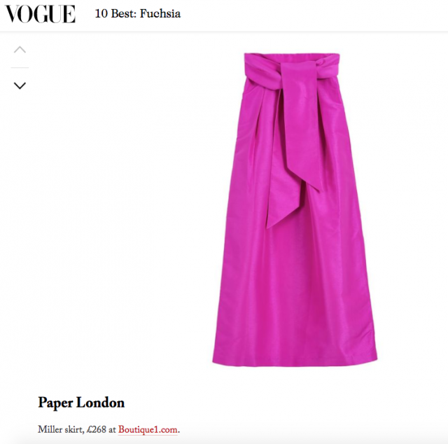 "Vogue's ""10 Best: Fuchsia"" features PAPER London's R17 Miller Skirt"