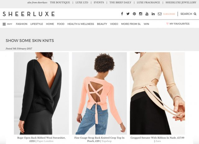 PAPER London's R17 Rope Jumper is featured on Sheerluxe Online