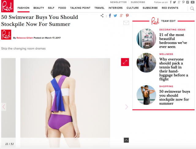 """Best Swimwear for Summer"" PAPER London's R17 Atlantis Bikini is featured on RED Online"