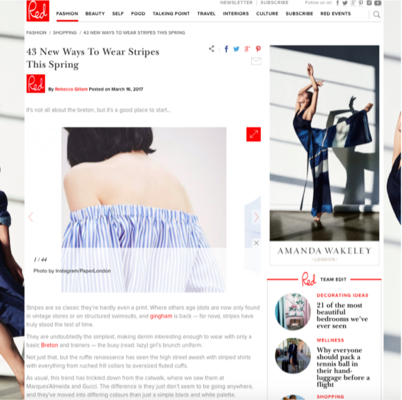 """Best Stripes for Spring"" PAPER London's R17 Silk Stripe Storm Top and Flute Top are featured on RED Online"