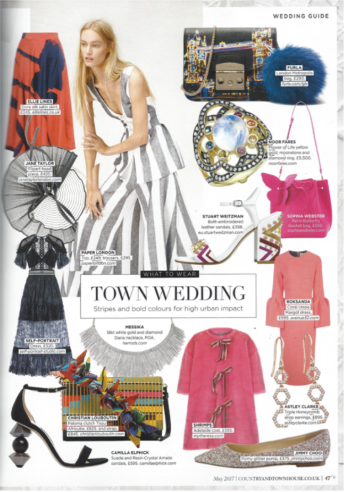 """What To Wear: Town Wedding"" PAPER London's SS17 Kelly Trousers and Sunflower Top are featured in Country & Townhouse"