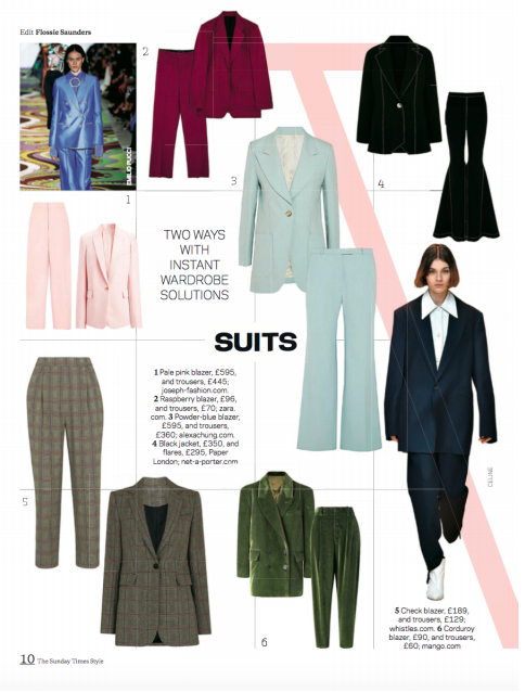 THE SUNDAY TIMES STYLE MAGAZINE features AW17's MOKA JACKET and TEMPEST FLARE in their INSTANT WARDROBE SOLUTION feature